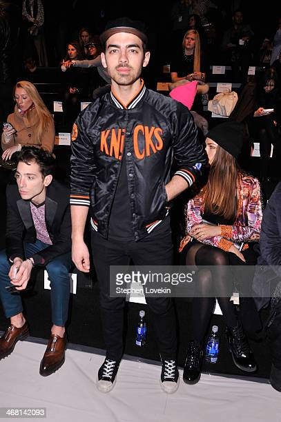 Joe Jonas attends the Custo Barcelona fashion show during MercedesBenz Fashion Week Fall 2014 at The Salon at Lincoln Center on February 9 2014 in...