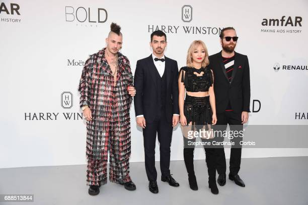 Joe Jonas Cole Whittle JinJoo Lee and Jack Lawless from DNCE arrive at the amfAR Gala Cannes 2017 at Hotel du CapEdenRoc on May 25 2017 in Cap...