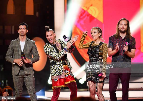Joe Jonas Cole Whittle JinJoo Lee and Jack Lawless of DNCE present at the 2017 iHeartRADIO MuchMusic Video Awards at MuchMusic HQ on June 18 2017 in...