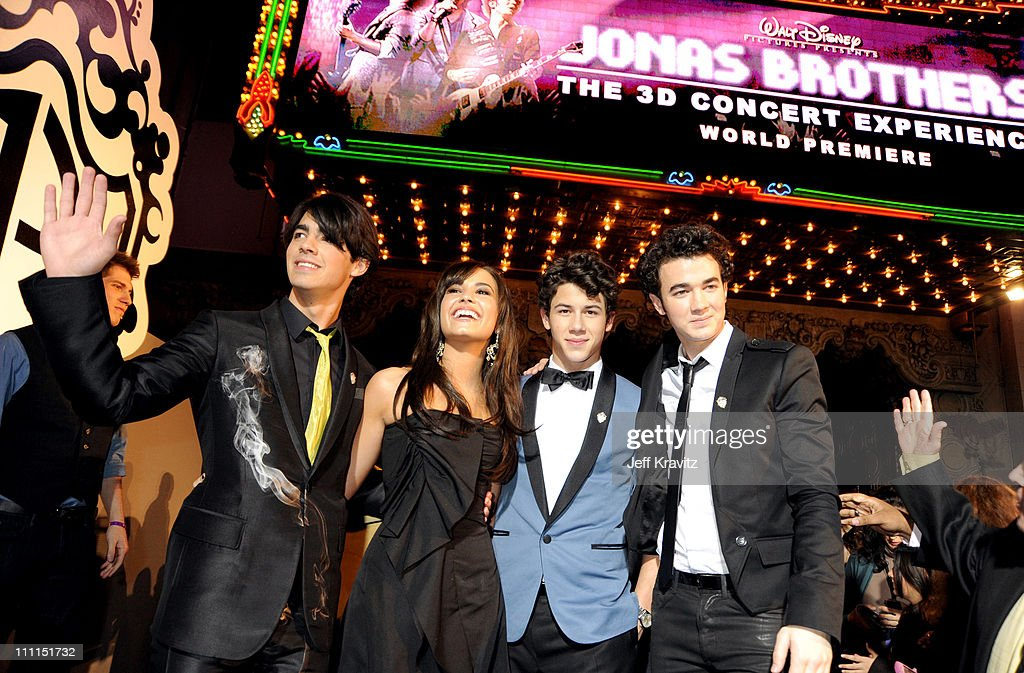 <a gi-track='captionPersonalityLinkClicked' href=/galleries/search?phrase=Joe+Jonas&family=editorial&specificpeople=842712 ng-click='$event.stopPropagation()'>Joe Jonas</a>, <a gi-track='captionPersonalityLinkClicked' href=/galleries/search?phrase=Demi+Lovato&family=editorial&specificpeople=4897002 ng-click='$event.stopPropagation()'>Demi Lovato</a>, <a gi-track='captionPersonalityLinkClicked' href=/galleries/search?phrase=Nick+Jonas&family=editorial&specificpeople=842713 ng-click='$event.stopPropagation()'>Nick Jonas</a> and <a gi-track='captionPersonalityLinkClicked' href=/galleries/search?phrase=Kevin+Jonas&family=editorial&specificpeople=709547 ng-click='$event.stopPropagation()'>Kevin Jonas</a> at the 'Jonas Brothers: 3D Concert Experience' Premiere at El Capitan Theatre on February 24, 2009 in Hollywood.