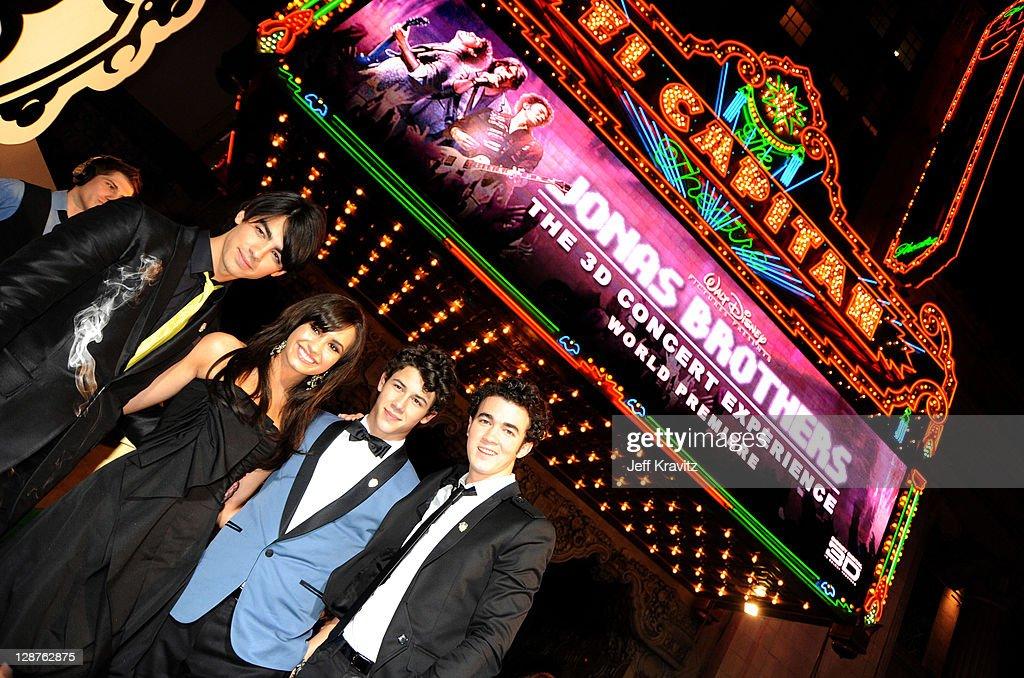 Joe Jonas, Demi Lovato, Nick Jonas and Kevin Jonas at the 'Jonas Brothers: 3D Concert Experience' Premiere at El Capitan Theatre on February 24, 2009 in Hollywood.