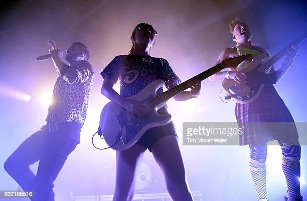Joe Jonas JinJoo Lee and Cole Whittle of DNCE perform in support of the band's self titled release at Ace of Spades on January 19 2017 in Sacramento...