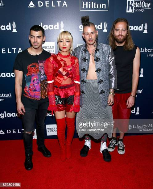 Joe Jonas JinJoo Lee Cole Whittle and Jack Lawless of band DNCE attend the 28th Annual GLAAD Awards at New York Hilton Midtown on May 6 2017 in New...