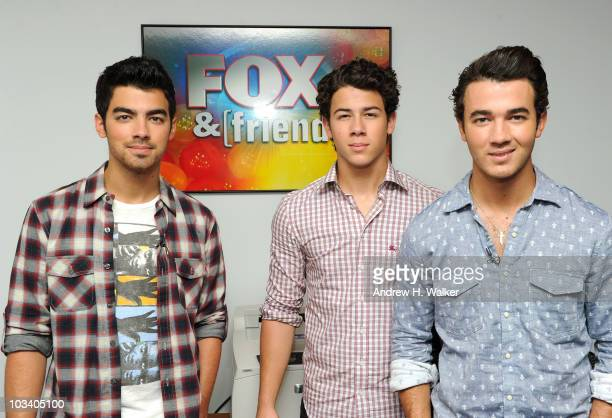 Joe Jonas Nick Jonas and Kevin Jonas of the Jonas Brothers visit 'FOX Friends' at the FOX studios on August 16 2010 in New York City