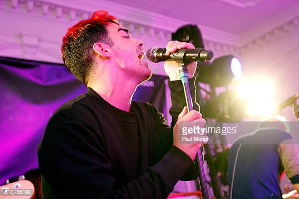 Joe Jonas of DNCE performs onstage at the after party celebrating DIESEL's Madison Avenue flagship on February 13 2016 in New York City