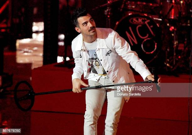 Joe Jonas of DNCE performs onstage at the Westfield Century City Reopening Celebration on October 3 2017 in Century City California