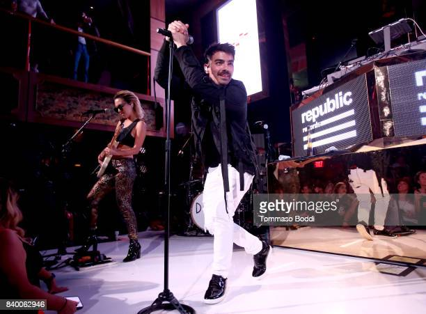 Joe Jonas of DNCE performs onstage during the VMA after party hosted by Republic Records and Cadillac at TAO restaurant at the Dream Hotel on August...