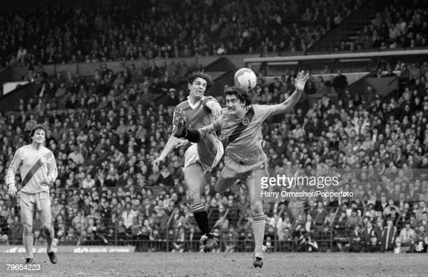 4th April 1981 Manchester United 1 v Crystal Palace 0 Joe Jordon of Manchester United and Terry Boyle of Crystal Palace battle for the ball in the air