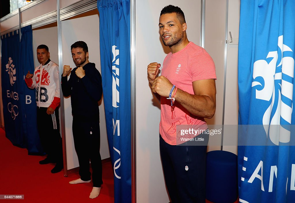 Joe Joyce, Anthony Fowler and Pat McCormack members of the Great Britain Olympic team pose during the Team GB Kitting Out ahead of Rio 2016 Olympic Games on July 1, 2016 in Birmingham, England.
