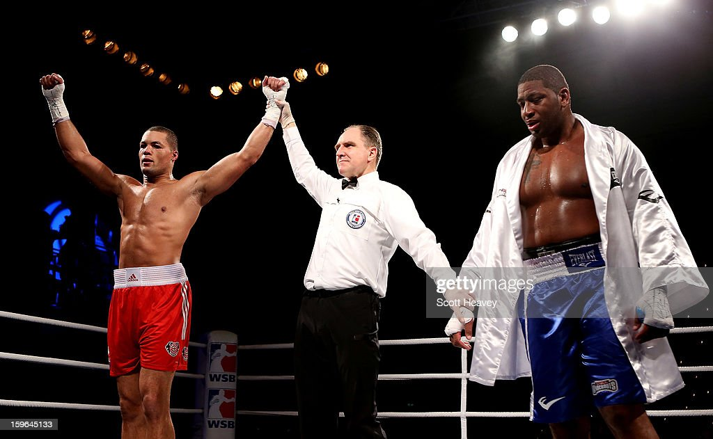 Joe Joyce of British Lionhearts celebrates his victory over Avery Gibson of USA Knockouts during their 91+kg bout during the World Series of Boxing Match between British Lionhearts and USA Knockouts at York Hall on January 17, 2013 in London, England.