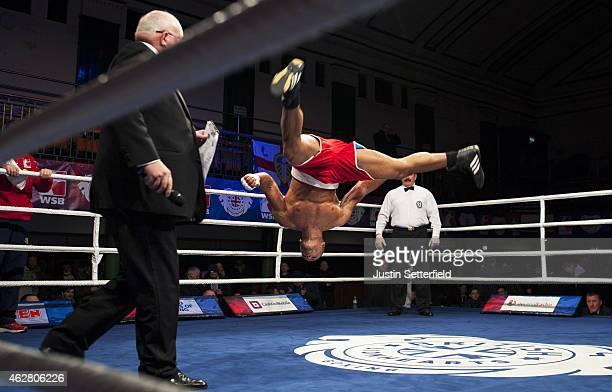 Joe Joyce of British Lionhearts celebrates winning his Super Heavyweight 91 Kg fight against Mohamed Grimes of Algeria Desert Hawks during the World...