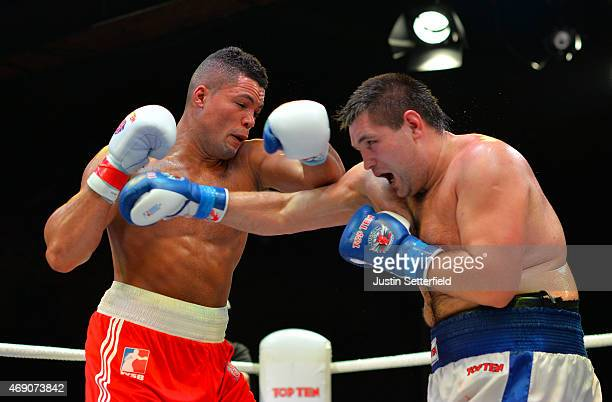Joe Joyce of British Lionhearts in action during his Super Heavy fight against Maxim Babanin of Russian Boxing Team during the World Series of Boxing...