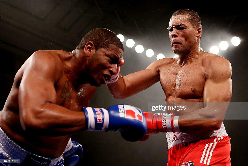 Joe Joyce of British Lionhearts (R) in action with Avery Gibson of USA Knockouts during their 91+kg bout during the World Series of Boxing Match between British Lionhearts and USA Knockouts at York Hall on January 17, 2013 in London, England.