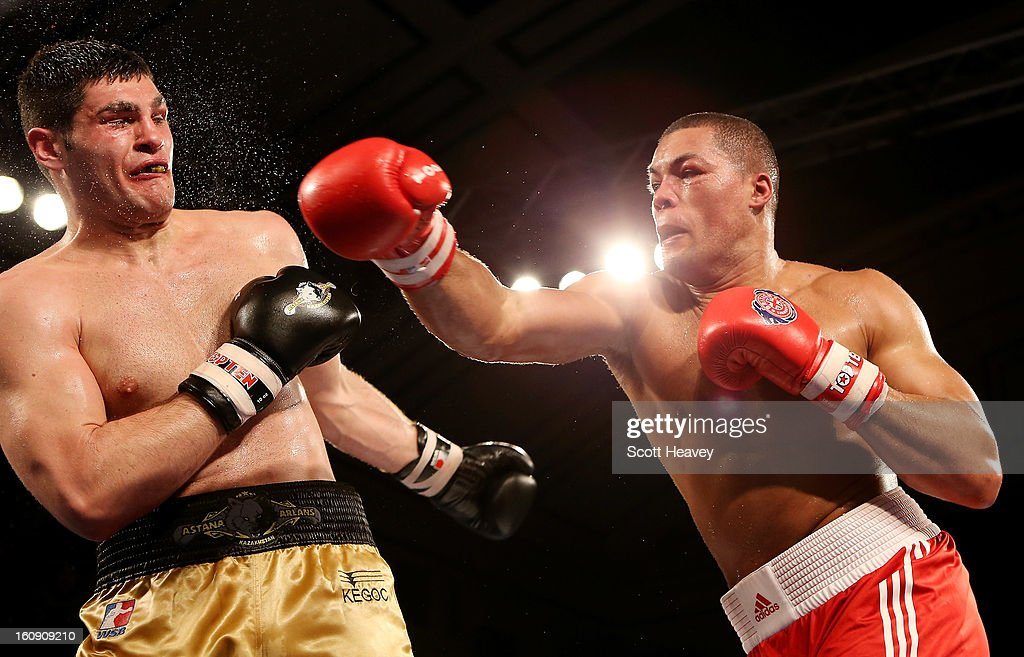 Joe Joyce of British Lionhearts (R) in action with Filip Hrgovic of Astana Arlans Kazakhstan during their 91KG+ bout during the World Series of Boxing between British Lionhearts and Astana Arlans Kazakhstan on February 7, 2013 in London, England.