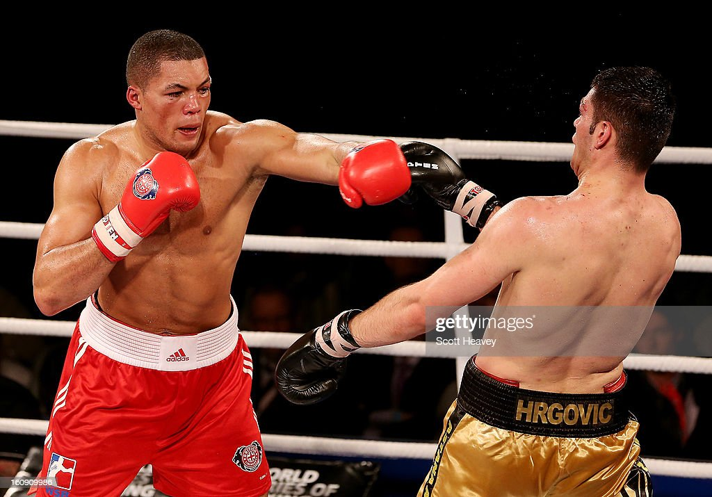 Joe Joyce of British Lionhearts (L) in action with Filip Hrgovic of Astana Arlans Kazakhstan during their 91KG+ bout during the World Series of Boxing between British Lionhearts and Astana Arlans Kazakhstan on February 7, 2013 in London, England.