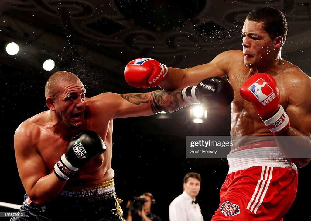 Joe Joyce of British Lionhearts (R) in action with Matteo Modugno of Italia Thunder during their Super Heavyweight (91kg+) bout in the World Series of Boxing between British Lionhearts and Italia Thunder on November 23, 2012 in Newport, Wales.