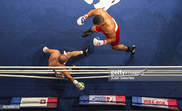 Joe Joyce of British Lionhearts knocks out Mohamed Grimes of Algeria Desert Hawks in the Super Heavyweight 91 Kg fight during the World Series of...