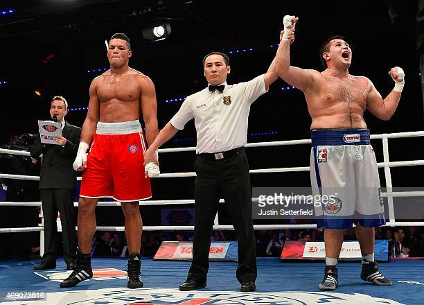Joe Joyce of British Lionhearts loses his Super Heavy fight against Maxim Babanin of Russian Boxing Team during the World Series of Boxing between...