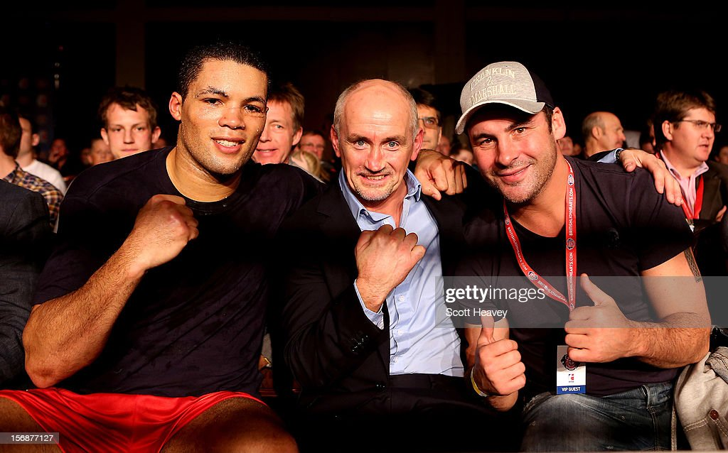 Joe Joyce of British Lionhearts (L) with Barry McGuigan and Joe Calzaghe during the World Series of Boxing between British Lionhearts and Italia Thunder on November 23, 2012 in Newport, Wales.