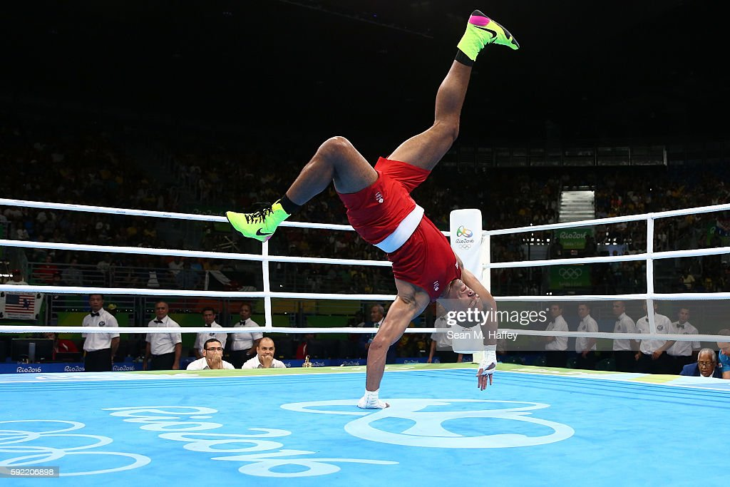 Joe Joyce of Great Britain celebrates after defeating Ivan Dychko of Kazakhstan in the Men's Super Heavy Semifinal 2 on Day 14 of the Rio 2016 Olympic Games at the Riocentro arena on August 19, 2016 in Rio de Janeiro, Brazil.