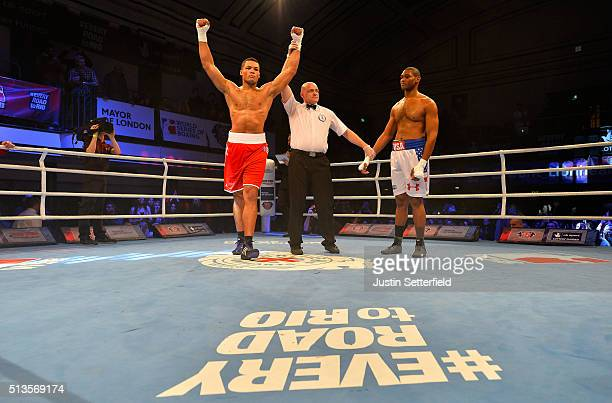 Joe Joyce of the British Lionhearts celebrates beating Brandon Lynch of the USA Knockouts during there Super Heavyweight bout during the World Series...
