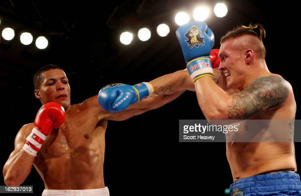 Joe Joyce of the British Lionhearts in action with Oleksandr Usyk of the Ukraine Otamans during the World Series of Boxing between the British...