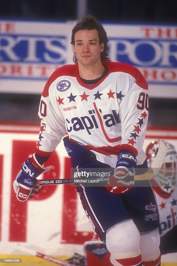Joe Juneau #90 of the Washington Capitals skates before a hockey game against the New York Islanders on February 18, 1994 at the USAir Arena in Landover, Maryland. The Capitals won 3-1.