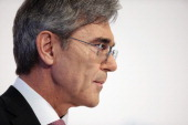 Joe Kaeser CEO of Siemens AG speaks to journalists and analysts at the company's 2nd quarter press conference on May 7 2014 in Berlin Germany Kaeser...