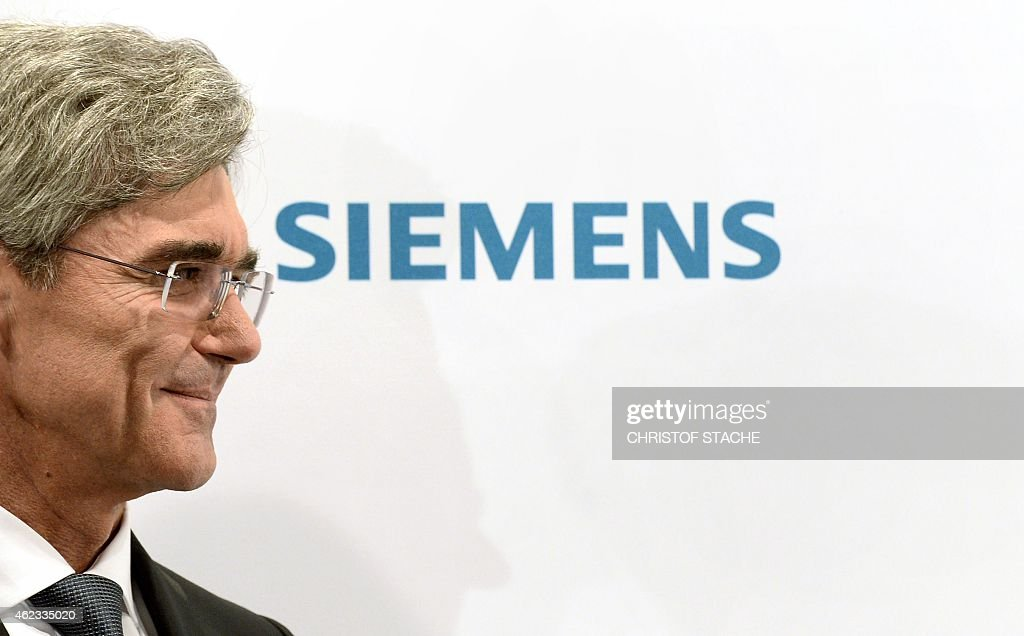 <a gi-track='captionPersonalityLinkClicked' href=/galleries/search?phrase=Joe+Kaeser&family=editorial&specificpeople=558326 ng-click='$event.stopPropagation()'>Joe Kaeser</a>, CEO of the German engineering giant Siemens, smiles as he arrives for a press conference ahead the shareholders meeting in Munich, southern Germany, on January 27, 2015. Siemens said it is sticking to it full-year outlook after business in the first quarter was in line with expectations.