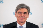 Joe Kaeser chief executive officer of Siemens AG reacts during a news conference to announce the company's results at Olympia Hall in Munich Germany...