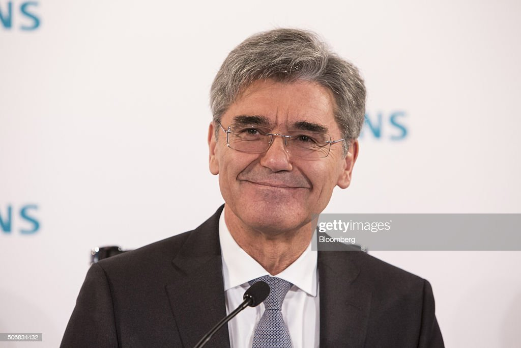 <a gi-track='captionPersonalityLinkClicked' href=/galleries/search?phrase=Joe+Kaeser&family=editorial&specificpeople=558326 ng-click='$event.stopPropagation()'>Joe Kaeser</a>, chief executive officer of Siemens AG, reacts during a news conference to announce the company's full year earnings in Munich, Germany, on Tuesday, Jan. 26, 2016. Siemens raised its profit outlook for the year, in a surprise move that highlights the company's confidence the German maker of gas turbines and medical scanners can ride out a slowdown in China and sharp drop in oil prices. Photographer: Martin Leissl/Bloomberg via Getty Images