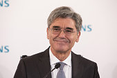 Joe Kaeser chief executive officer of Siemens AG reacts during a news conference to announce the company's full year earnings in Munich Germany on...