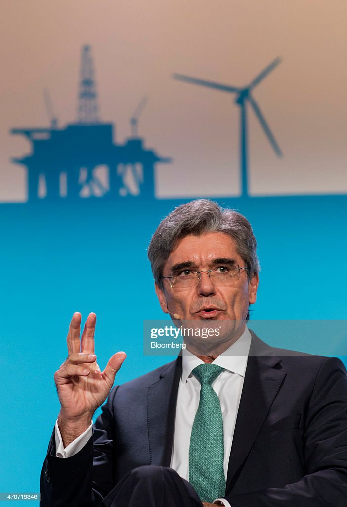 <a gi-track='captionPersonalityLinkClicked' href=/galleries/search?phrase=Joe+Kaeser&family=editorial&specificpeople=558326 ng-click='$event.stopPropagation()'>Joe Kaeser</a>, chief executive officer of Siemens AG, speaks during the 2015 IHS CERAWeek conference in Houston, Texas, U.S., on Wednesday, April 22, 2015. CERAWeek 2015, in its 34th year, will provide new insights and critically-important dialogue with decision-makers in the oil and gas, electric power, coal, renewables, and nuclear sectors from around the world. Photographer: F. Carter Smith/Bloomberg via Getty Images