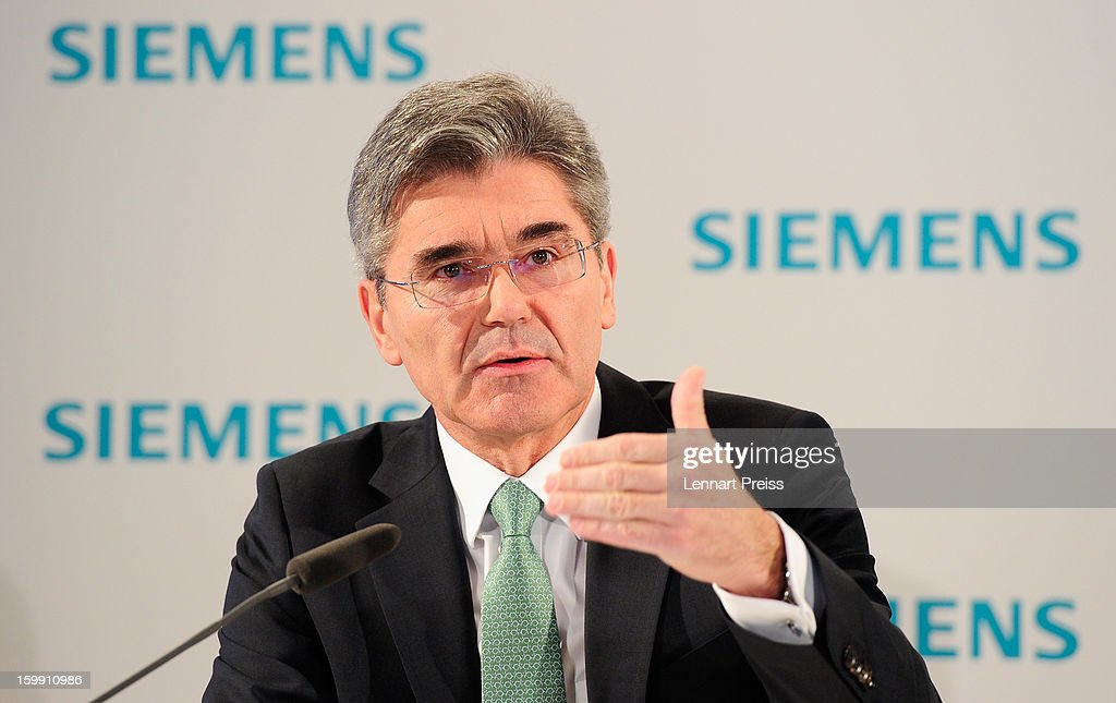Joe Kaeser, Member of the Managing Board and Head of Corporate Finance and Controlling, speaks to the media to announce financial results for the first quarter of 2013 prior to the Siemens annual general shareholders' meeting at the Olympiahalle on January 23, 2013 in Munich, Germany. Siemens announces that although the new orders declined slightly year-over-year, the book-to-bill ratio was again above 1 for the first time in three quarters. Total Sectors profit rose some four percent.