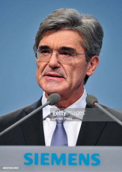 Joe Kaeser President and Chief Executive Officer of Siemens AG speaks to the shareholders during the Siemens annual general shareholders' meeting at...