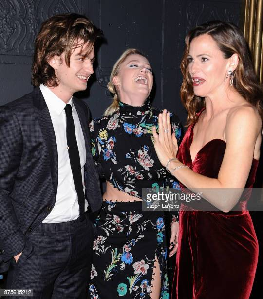 Joe Keery Maika Monroe and Jennifer Garner attend the premiere of 'The Tribes of Palos Verdes' at The Theatre at Ace Hotel on November 17 2017 in Los...
