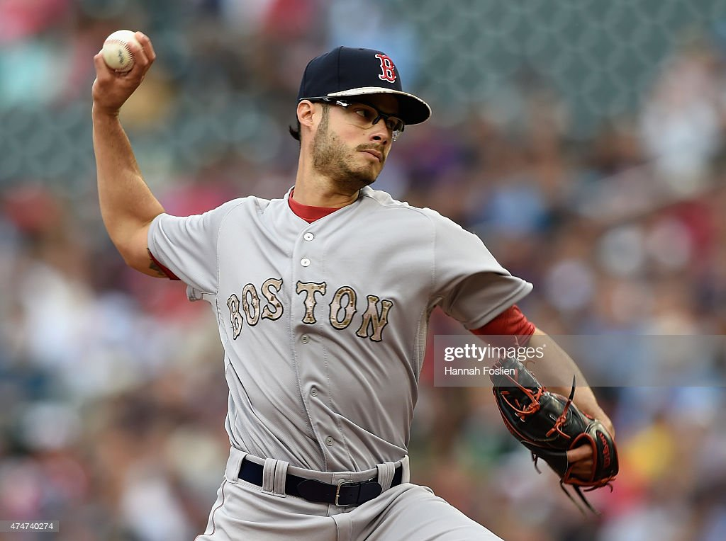 Joe Kelly #56 of the Boston Red Sox delivers a pitch against the Minnesota Twins during the first inning of the game on May 25, 2015 at Target Field in Minneapolis, Minnesota. The Twins defeated the Red Sox 7-2.