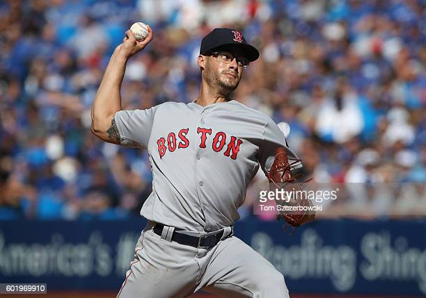 Joe Kelly of the Boston Red Sox delivers a pitch in the eighth inning during MLB game action against the Toronto Blue Jays on September 10 2016 at...
