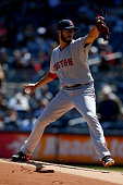 Joe Kelly of the Boston Red Sox delivers against the New York Yankees at Yankee Stadium on April 11 2015 in the Bronx borough of New York City