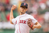 Joe Kelly of the Boston Red Sox delivers during the first inning of a game against the Cleveland Indians on May 21 2016 at Fenway Park in Boston...