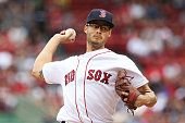 Joe Kelly of the Boston Red Sox delivers in the first inning during the game against the Cleveland Indians at Fenway Park on May 21 2016 in Boston...