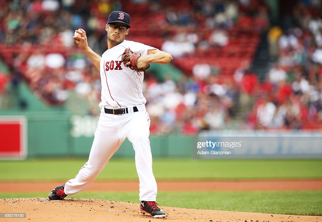 Joe Kelly #56 of the Boston Red Sox delivers in the first inning during the game against the Cleveland Indians at Fenway Park on May 21, 2016 in Boston, Massachusetts.