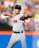 Joe Kelly of the Boston Red Sox in action against the New York Mets at Citi Field on August 29 2015 in the Flushing neighborhood of the Queens...