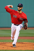 Joe Kelly of the Boston Red Sox pitches against the Baltimore Orioles during the first period at Fenway Park on April 17 2015 in Boston Massachusetts