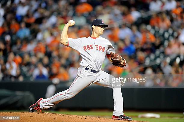 Joe Kelly of the Boston Red Sox pitches against the Baltimore Orioles at Oriole Park at Camden Yards on September 15 2015 in Baltimore Maryland