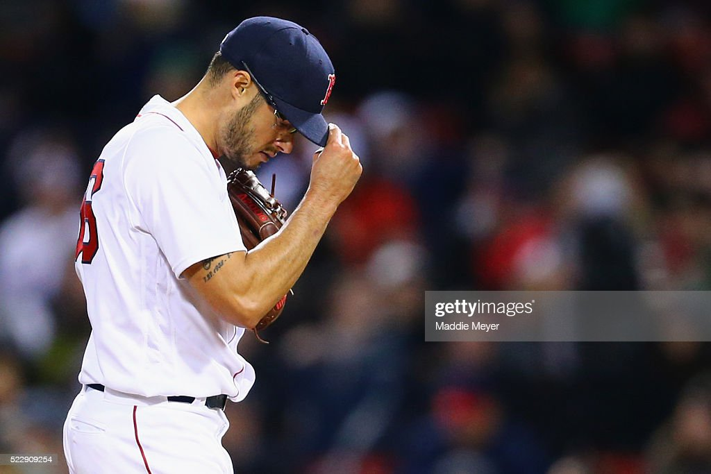Joe Kelly #56 of the Boston Red Sox pitches against the Baltimore Orioles during the fourth inning at Fenway Park on April 13, 2016 in Boston, Massachusetts.