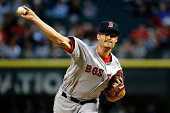 Joe Kelly of the Boston Red Sox pitches against the Chicago White Sox during the first inning at US Cellular Field on August 24 2015 in Chicago...