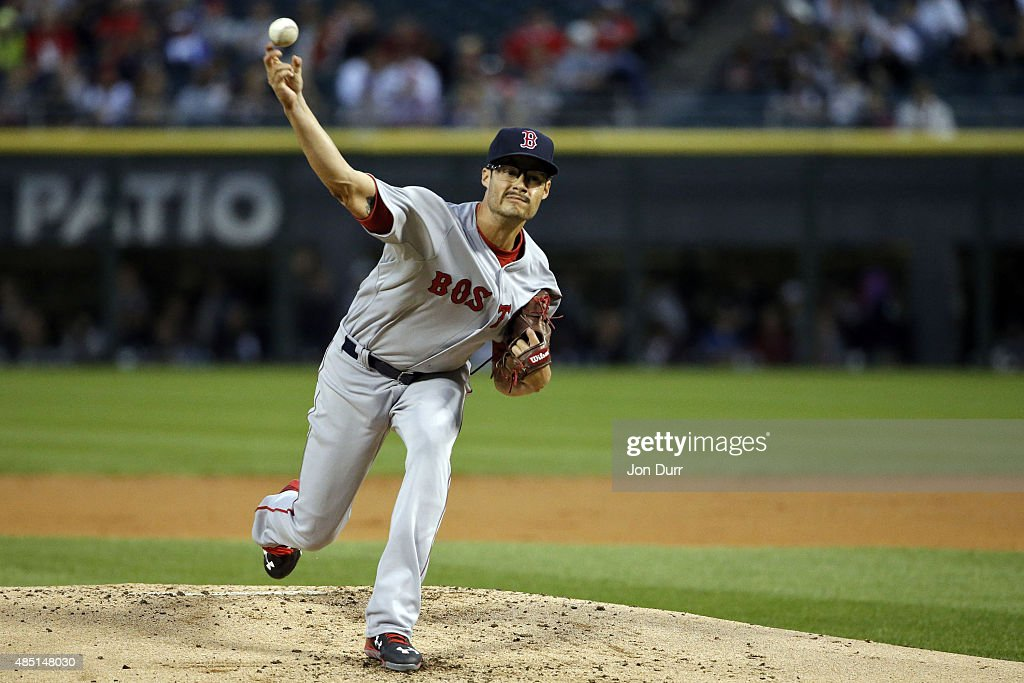 Joe Kelly #56 of the Boston Red Sox pitches against the Chicago White Sox during the first inning at U.S. Cellular Field on August 24, 2015 in Chicago, Illinois.