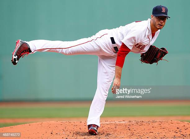 Joe Kelly of the Boston Red Sox pitches against the Houston Astros during the game at Fenway Park on August 17 2014 in Boston Massachusetts