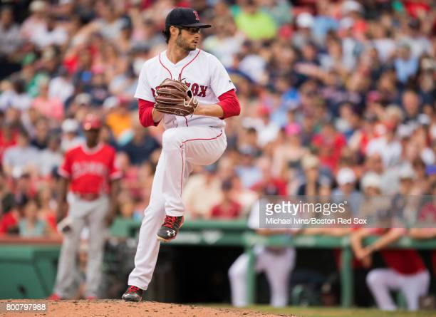Joe Kelly of the Boston Red Sox pitches against the Los Angeles Angles of Anaheim in the eighth inning at Fenway Park on June 25 2017 in Boston...